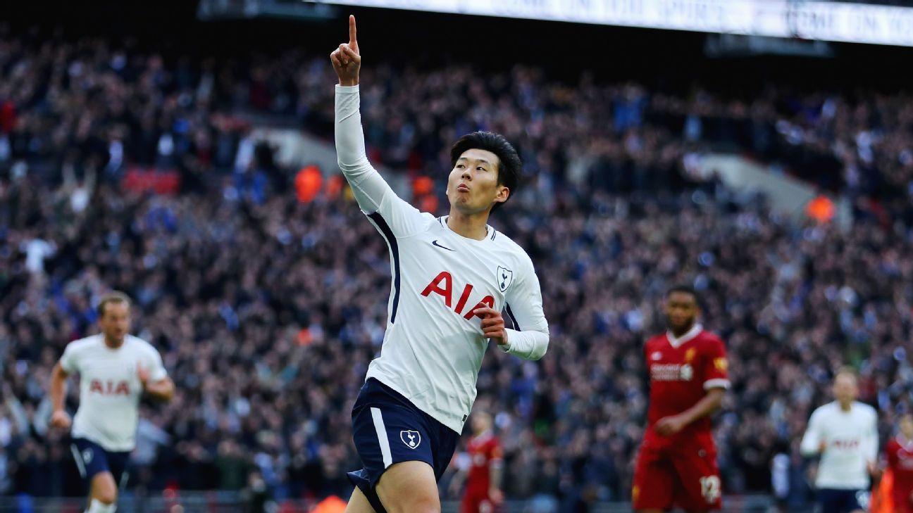 Son Heung-min celeb v Liverpool