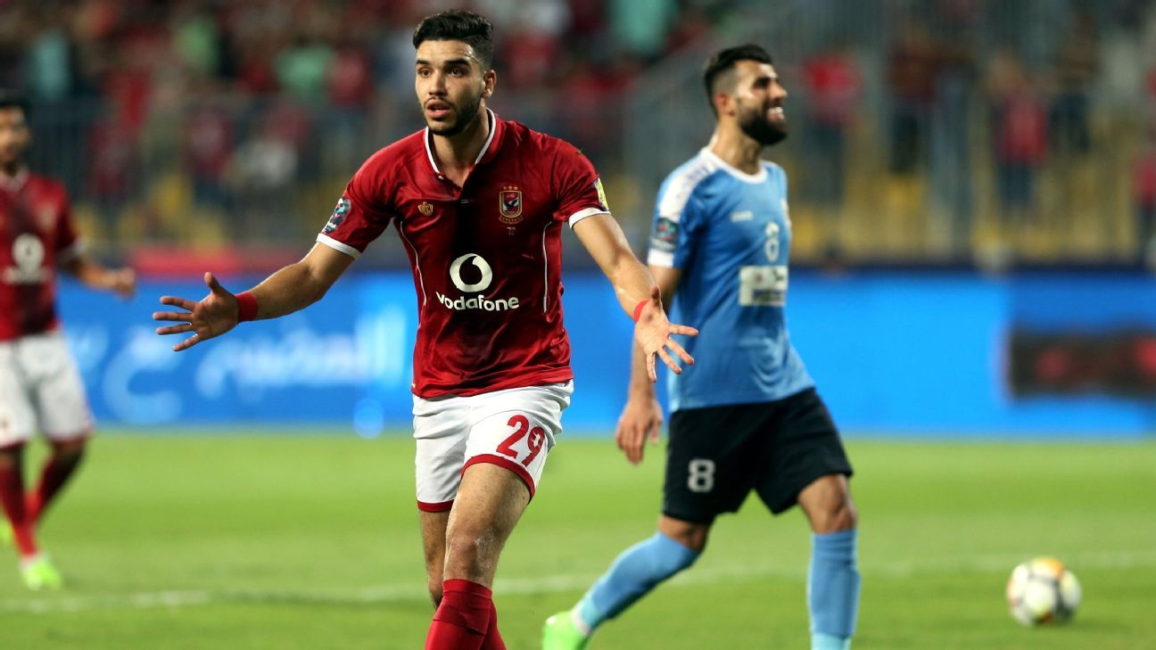 Walid Azaro of Al Ahly protests a decision