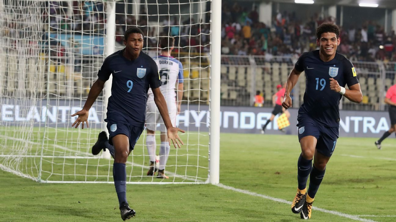 With his hat-trick against U.S. in the quarter-final, Rhian Brewster (left) has struck form at arguably the perfect time for England.