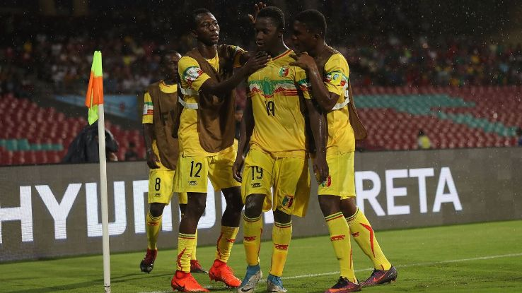 Lassana N'Diaye (No. 19) celebrates his goal during Mali's 3-0 group stage win over Turkey in Mumbai.