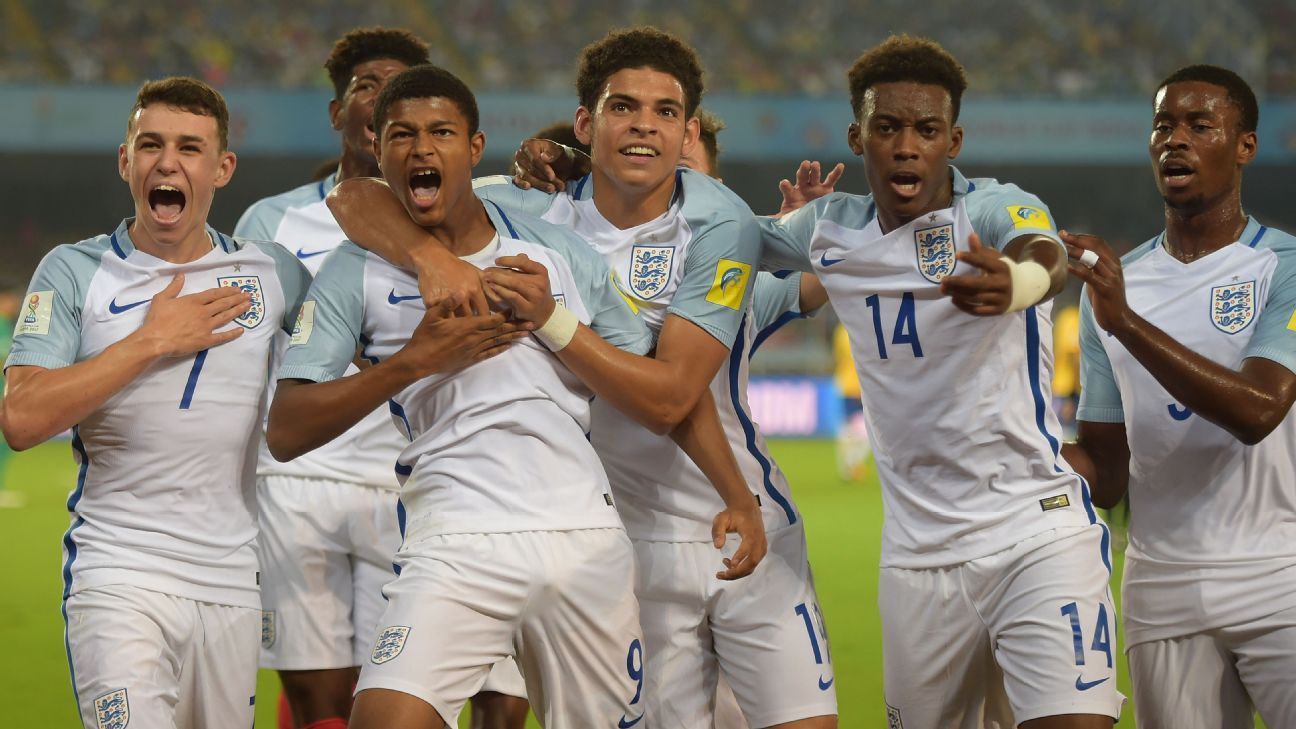 England celebrate after Rhian Brewster scored the opener.