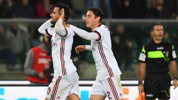 Suso celebrates after scoring for AC Milan against Chievo.