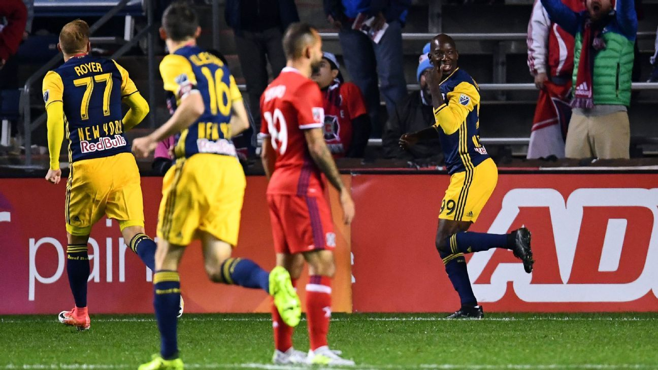 Bradley Wright-Phillips celebrates after opening the scoring for the NY Red Bulls against the Chicago Fire.