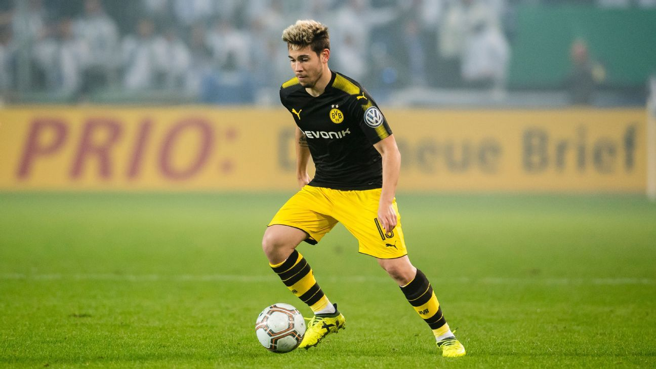 Borussia Dortmund's Raphael Guerreiro returned from injury in the DFB Pokal win at Magdeburg