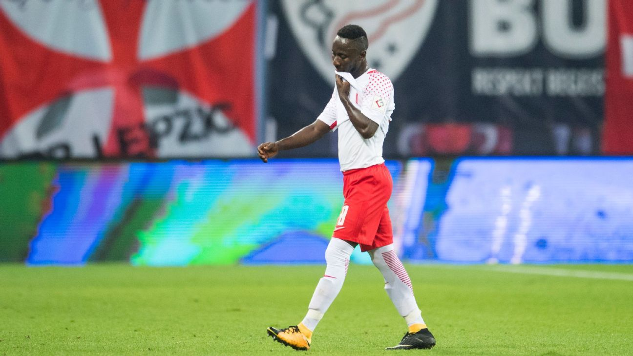 RB Leipzig's Naby Keita walks off after being shown a red card vs. Bayern Munich