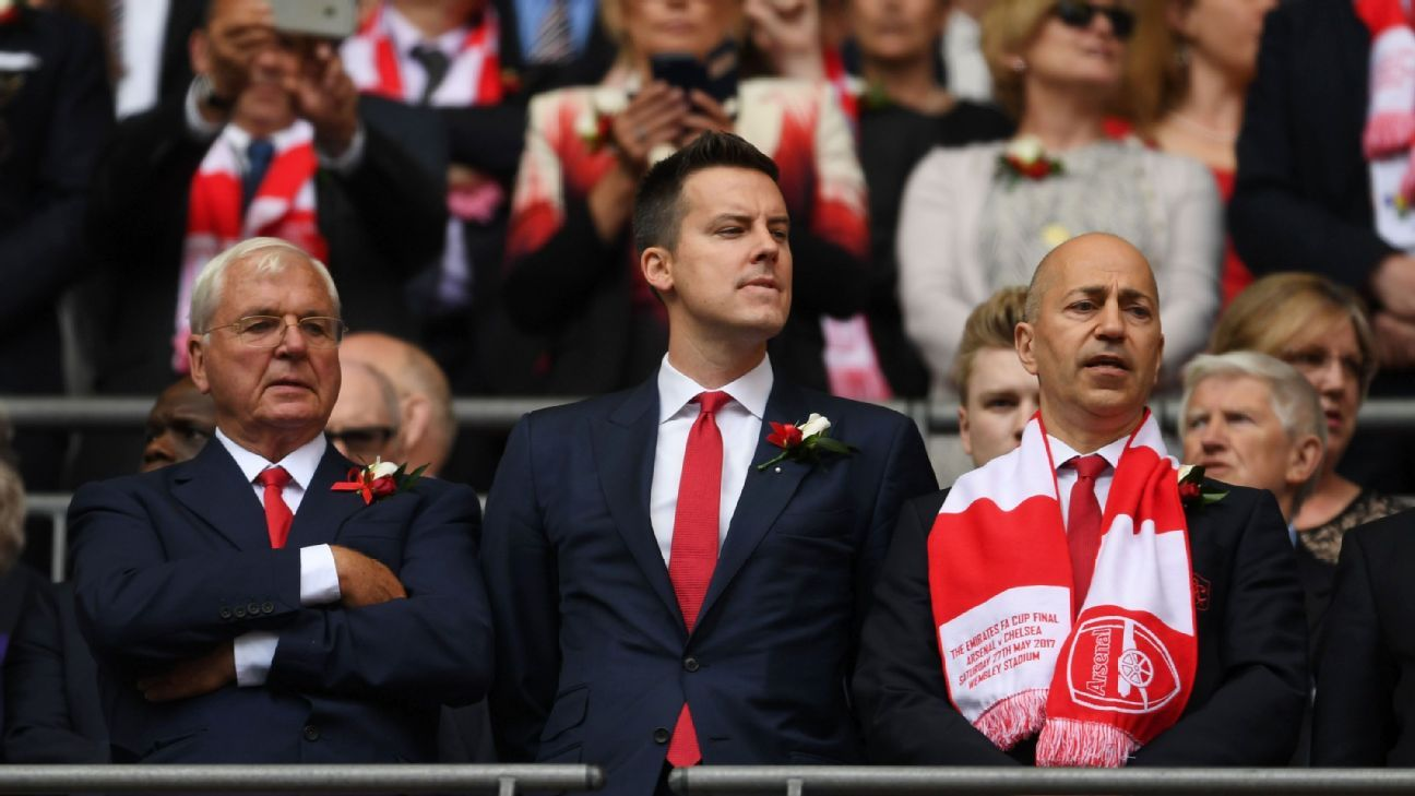 Josh Kroenke, middle, is a non-executive director at Arsenal.