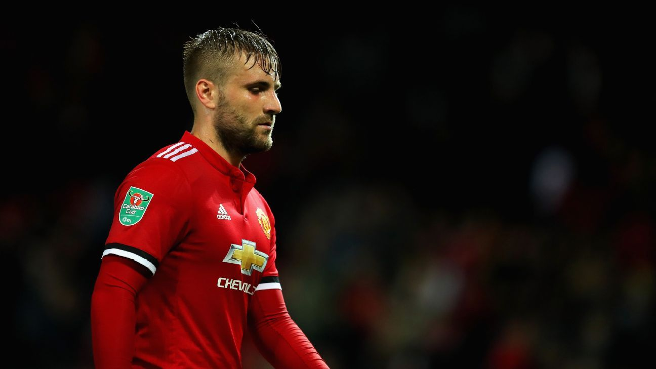 Luke Shaw during Manchester United's Carabao Cup victory against Burton Albion.