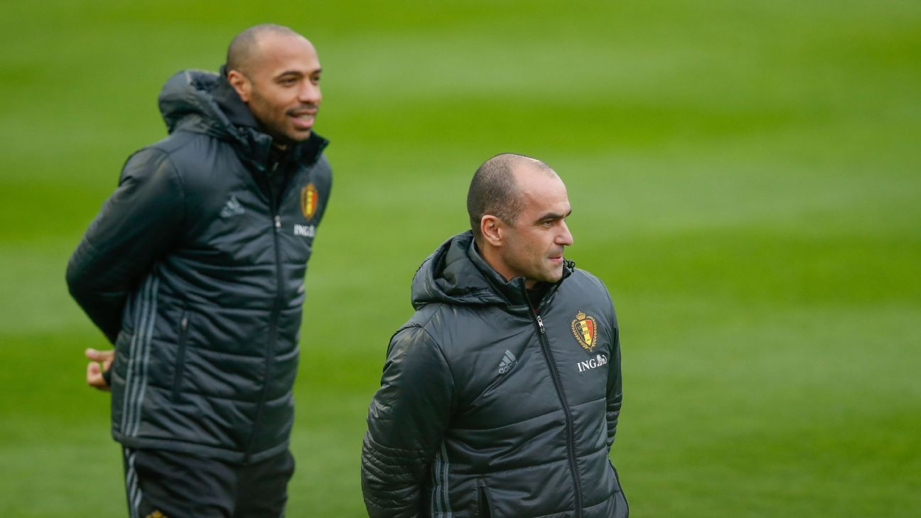 Thierry Henry and Roberto Martinez during Belgium training.
