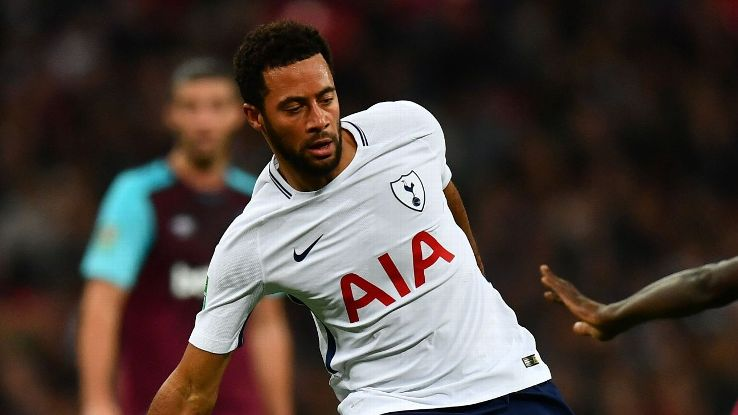 Mousa Dembele in action for Tottenham during their Carabao Cup defeat against West Ham at Wembley.