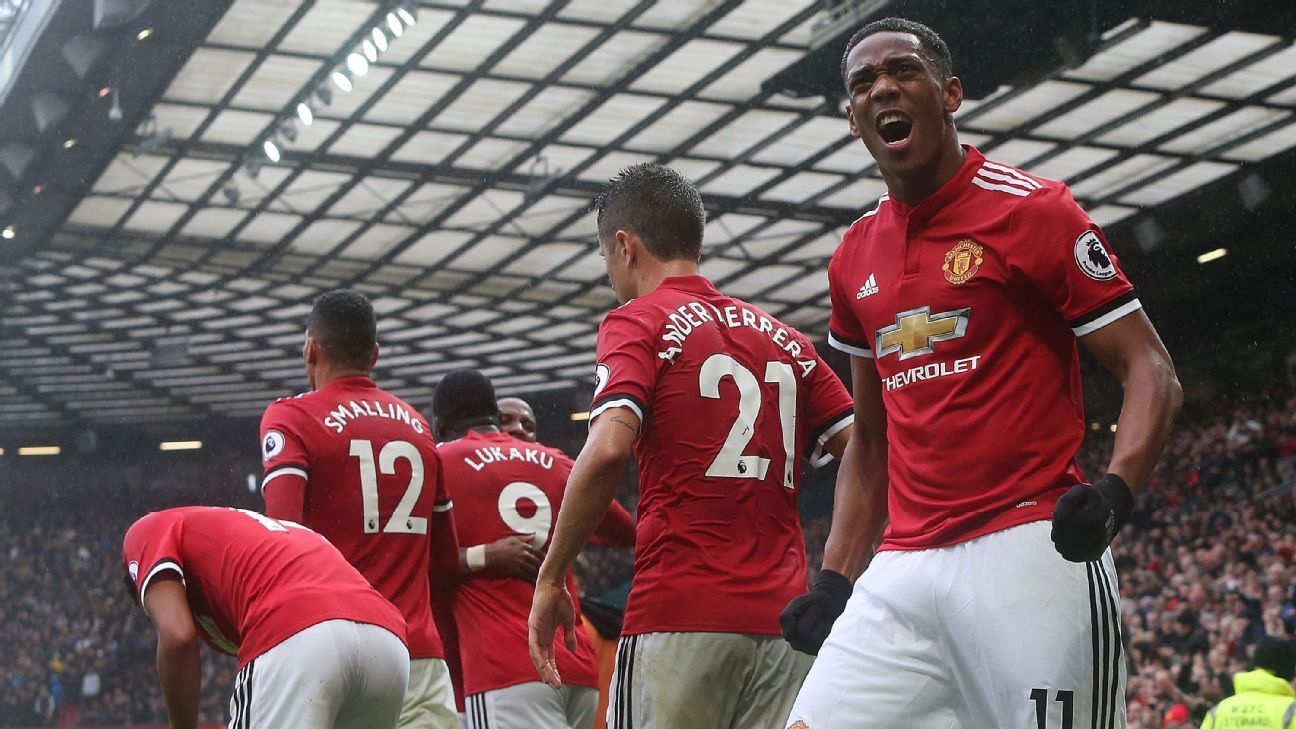 Anthony Martial celebrates after scoring Manchester United's winner against Tottenham.