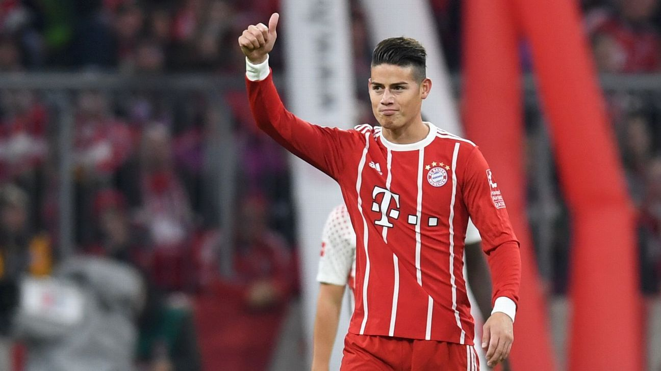 James Rodriguez during Bayern Munich's Bundesliga game against RB Leipzig.