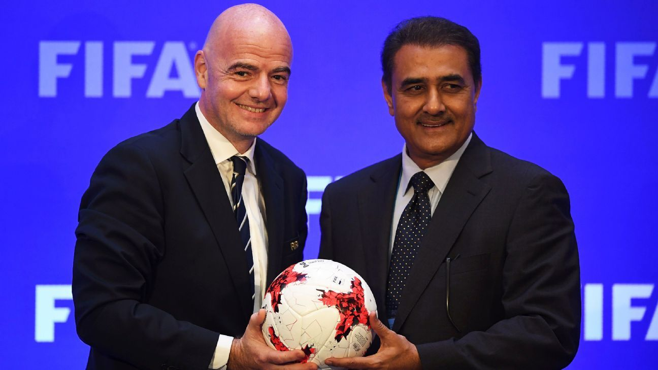 Praful Patel (right) with FIFA president Gianni Infantino.