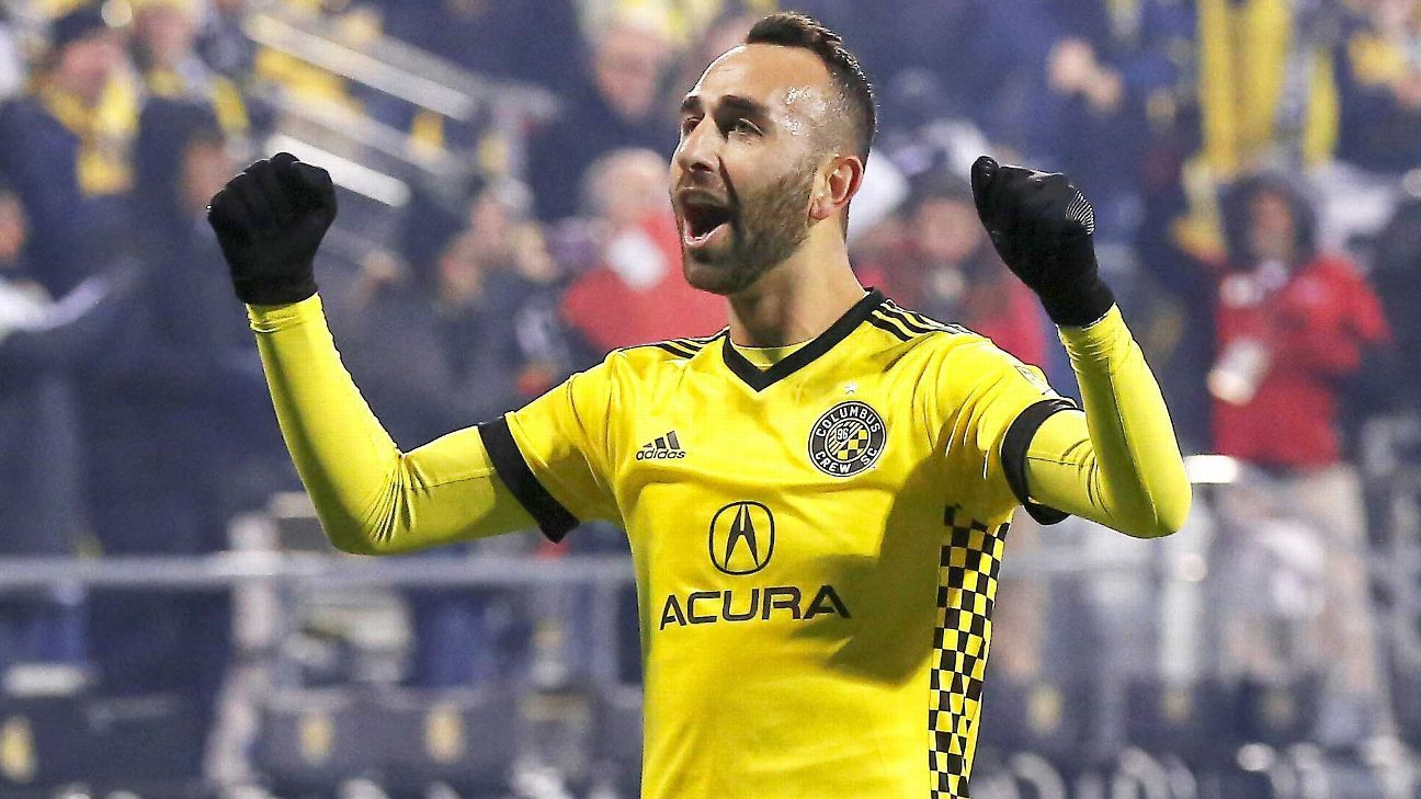 Justin Meram celebrates his playoff goal vs. NYCFC.