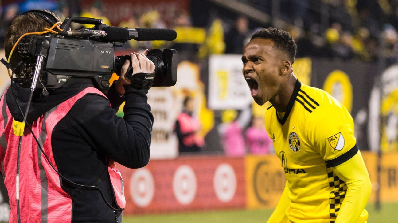 Ola Kamara celebrates after scoring a goal for Columbus against NYCFC.