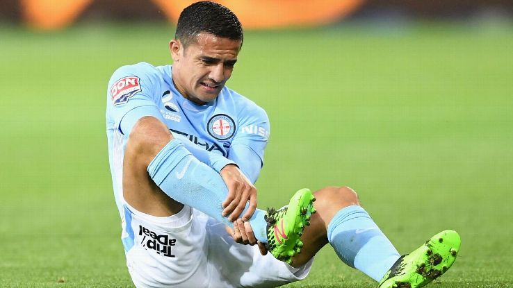 Tim Cahill was injured during Melbourne City's A-League win against Sydney FC.