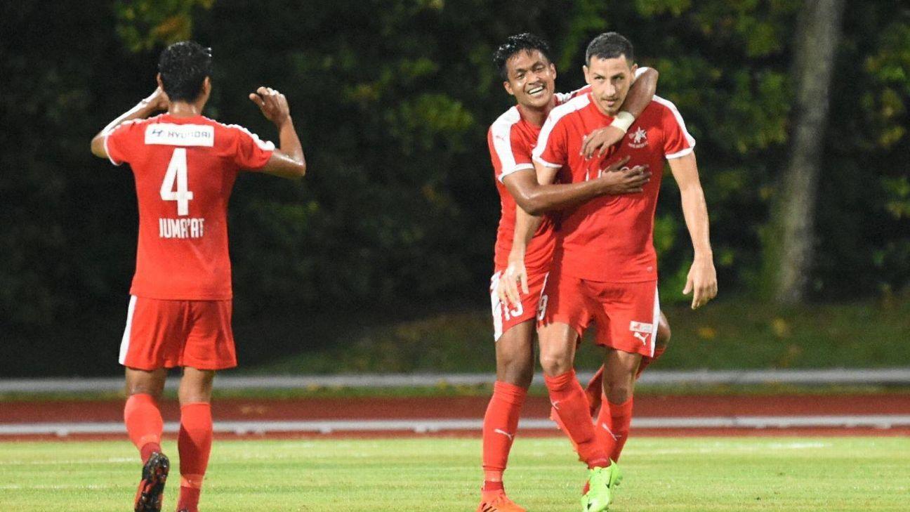 Stipe Plazibat celebrates Home United goal in 2017
