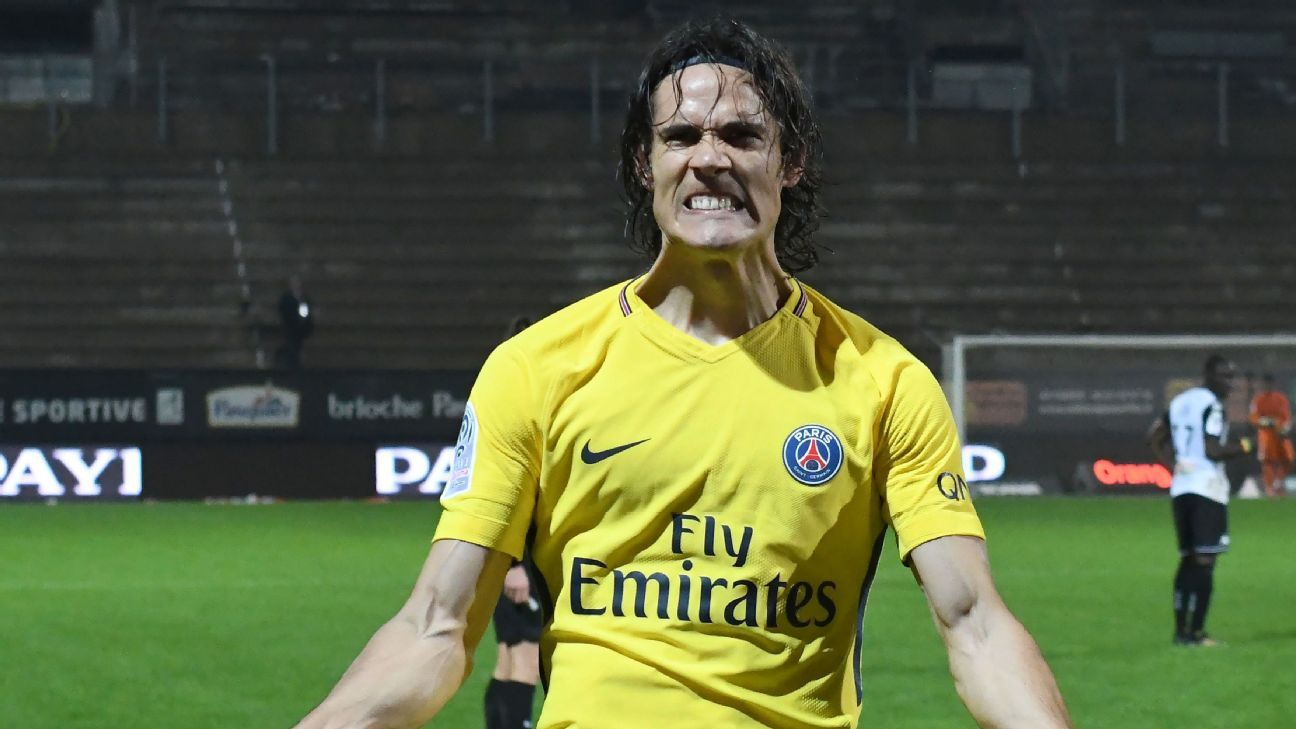 Edinson Cavani's two goals against the Angers took him past the 100-goal mark in Ligue 1.