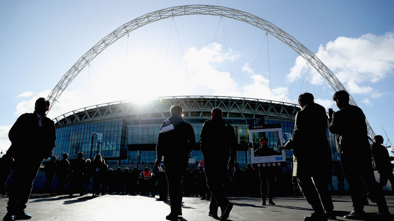 General view outside the stadium as fans arrive prior to the Premier League match between Tottenham Hotspur and Crystal Palace.