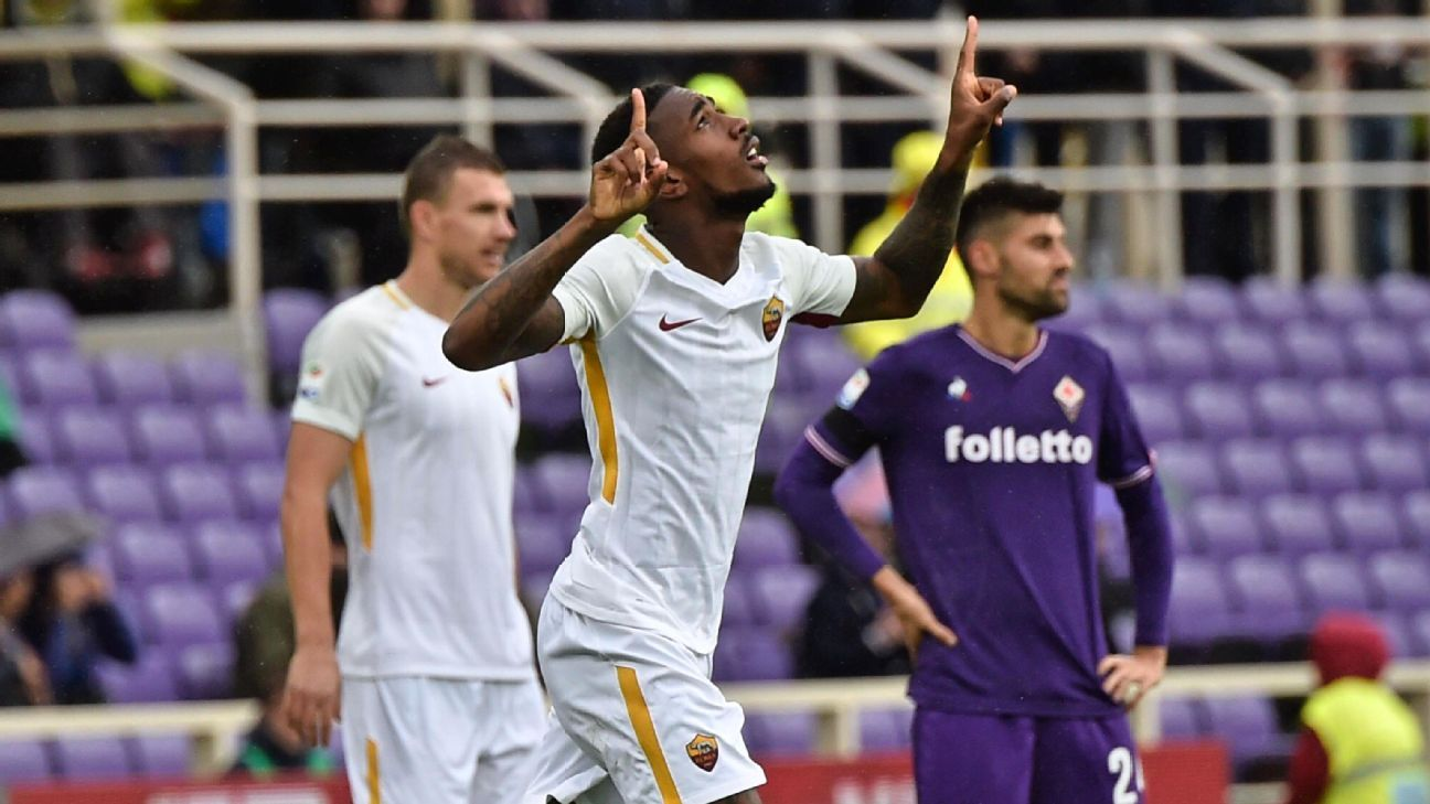Gerson scored two goals Sunday as Roma rolled to a big 4-2 win away to Fiorentina.