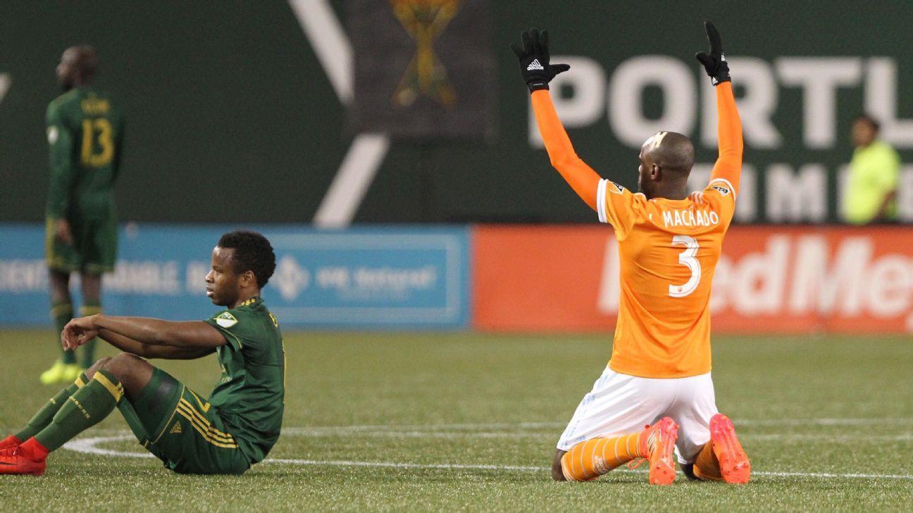 Houston Dynamo defender Adolfo Machado celebrates after full-time of his team's win against Portland.