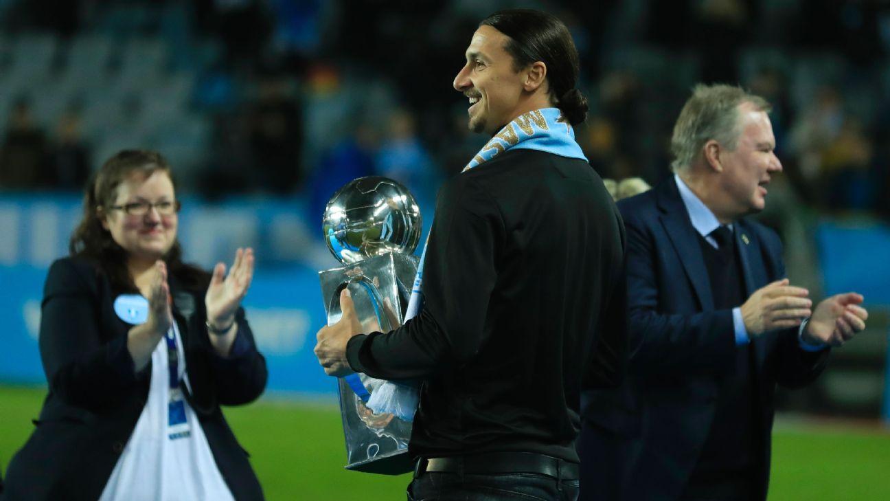 Zlatan Ibrahimovic presents Malmo with Swedish league trophy