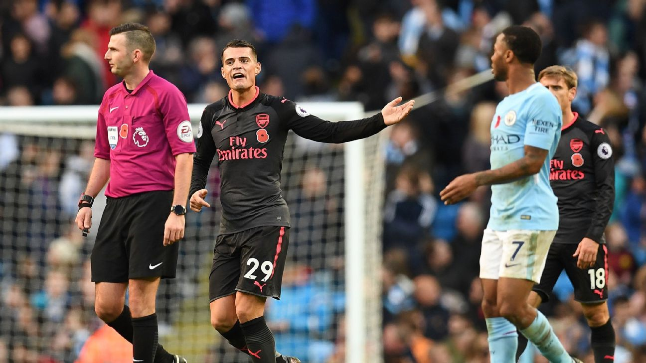 Midfielder Granit Xhaka did little more than complain as Man City whipped Arsenal on Sunday.