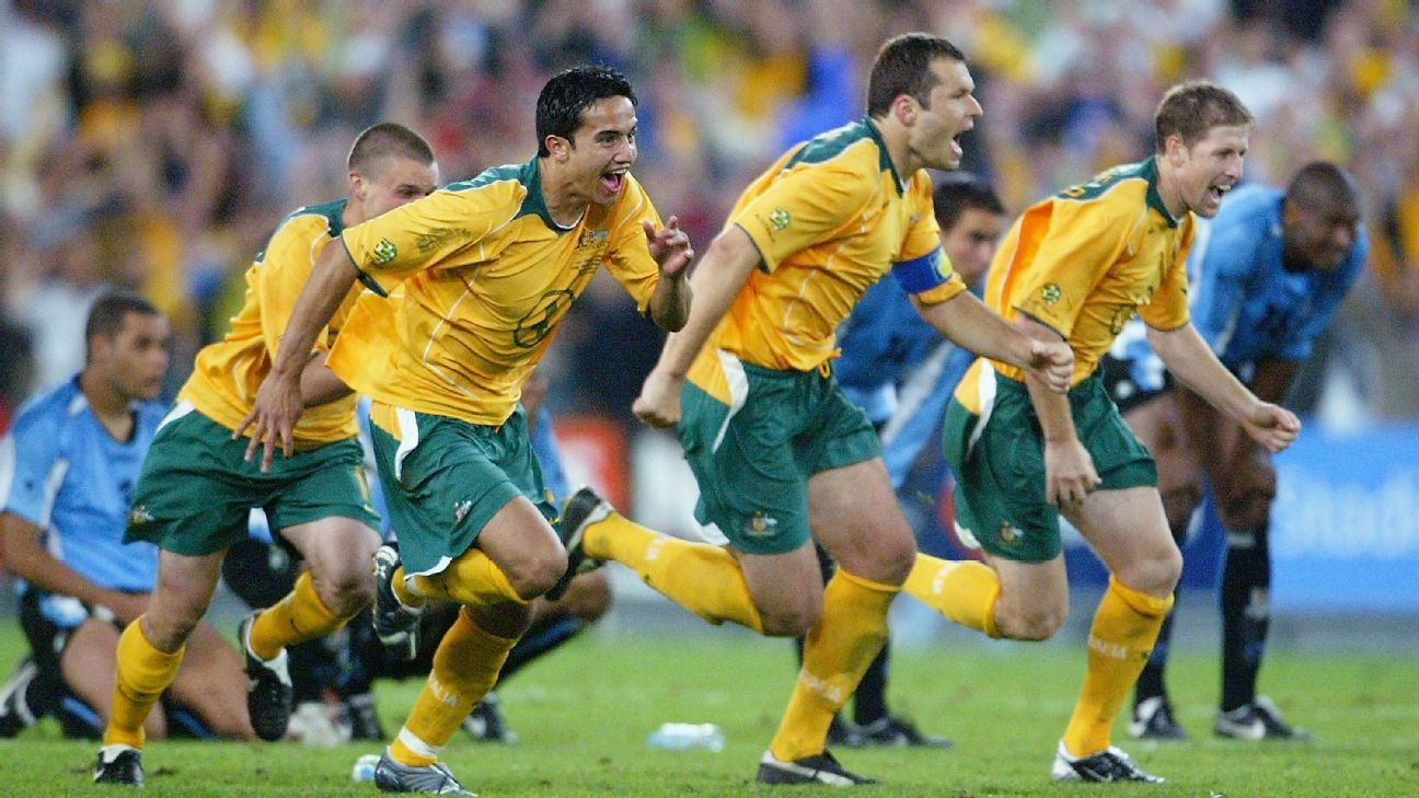 Tim Cahill celebrates 2005 victory over Uruguay