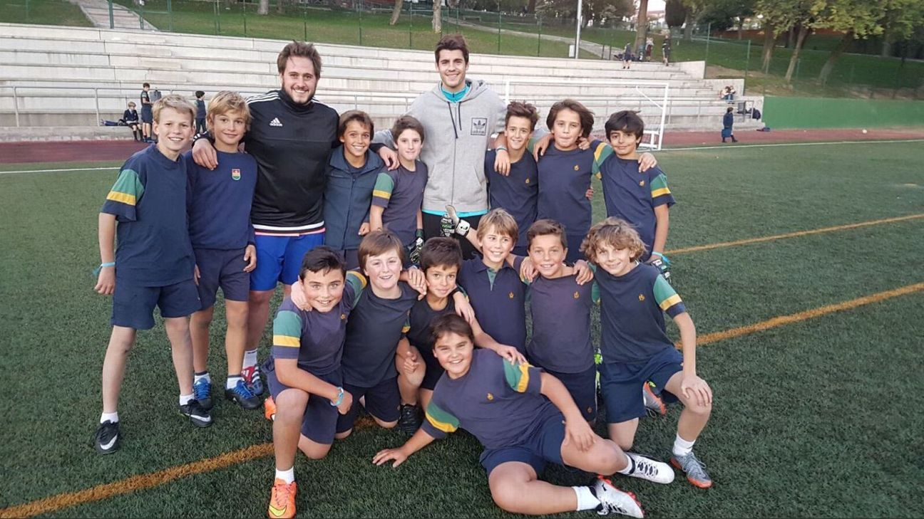 Chelsea striker Alvaro Morata pays visit to old school in Madrid