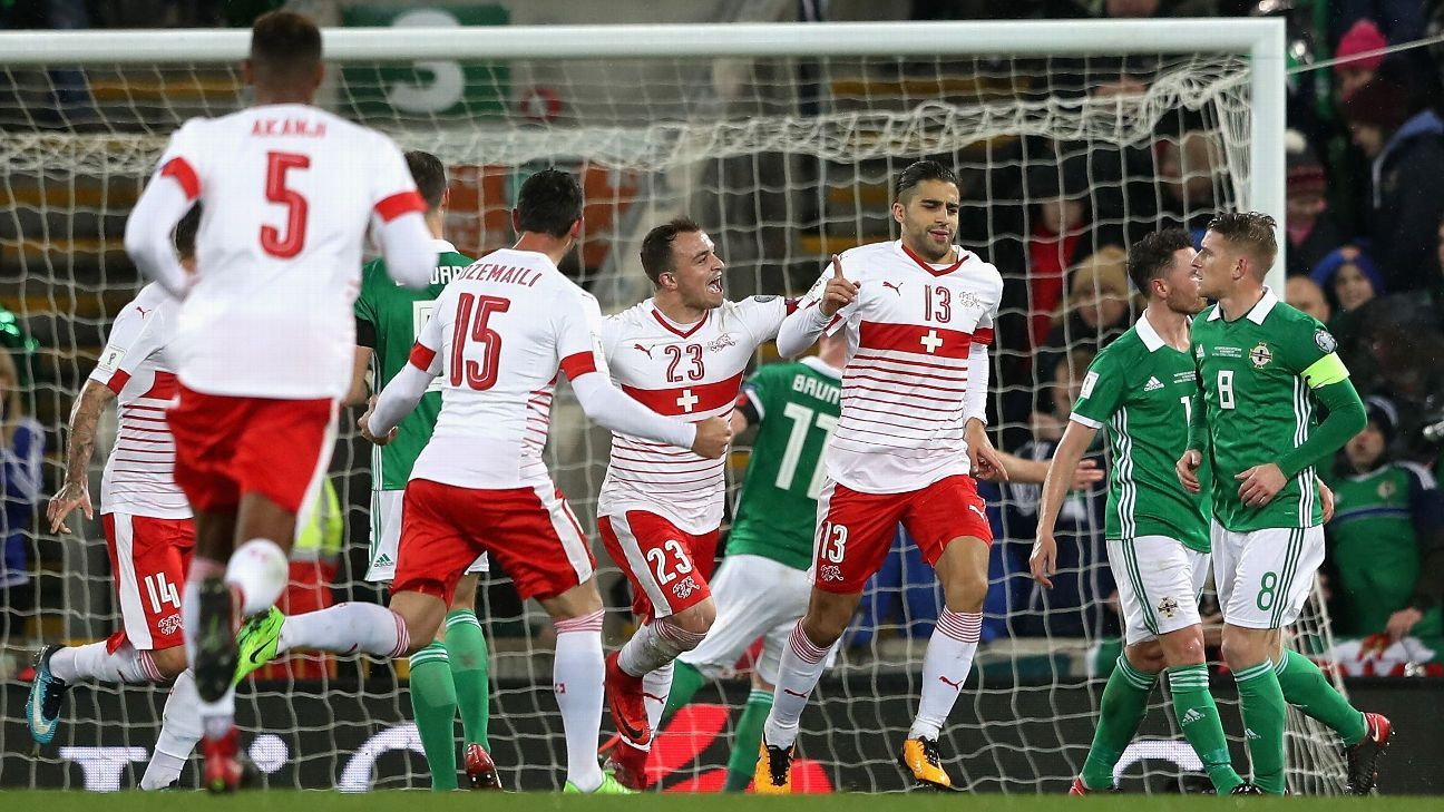 Ricardo Rodriguez celebrates his penalty against Northern Ireland.