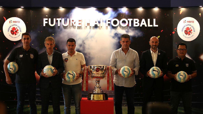 From left to right: Alexandre Guimaraes, Albert Roca, Sergio Lobera, John Gregory, Ranko Popovic, and Thangboi Singto