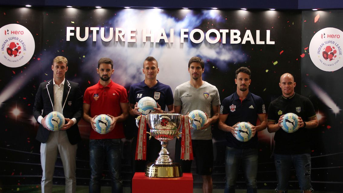 From left to right: John Johnson, Bruno Pinheiro, Lucian Goian, Sereno Henrique, Marcelinho, and Iain Hume