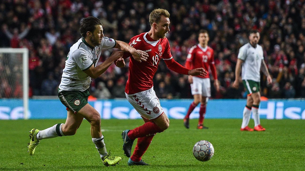 Harry Arter moves in on Christian Eriksen during the Republic of Ireland's World Cup playoff against Denmark.