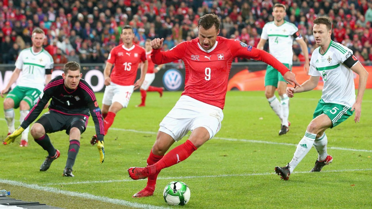 Switzerland and Northern Ireland played a more open match on Sunday.