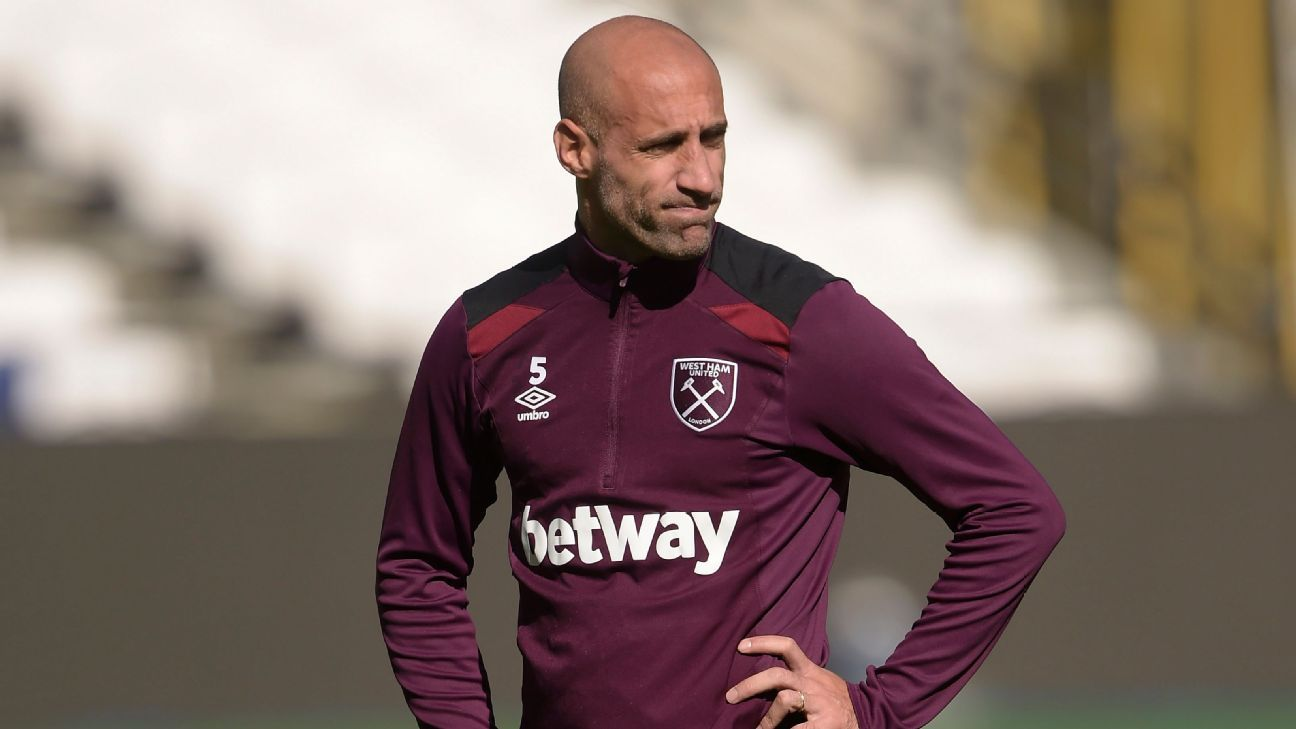 West Ham United defender Pablo Zabaleta in training