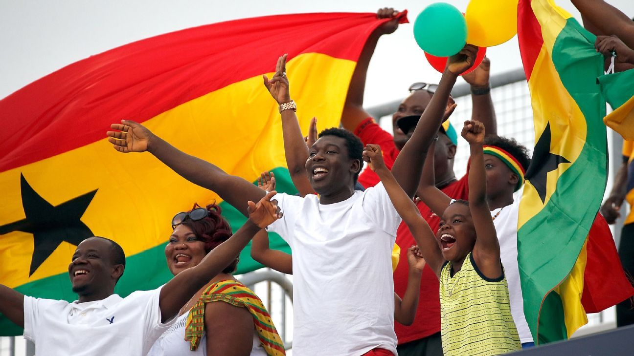 Ghana fans cheer on their team
