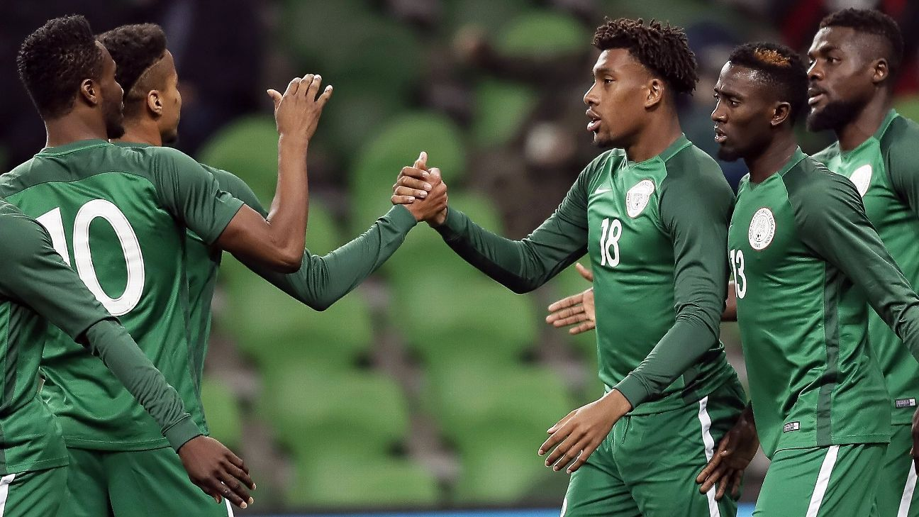 Alex Iwobi and Ola Aina of Nigeria