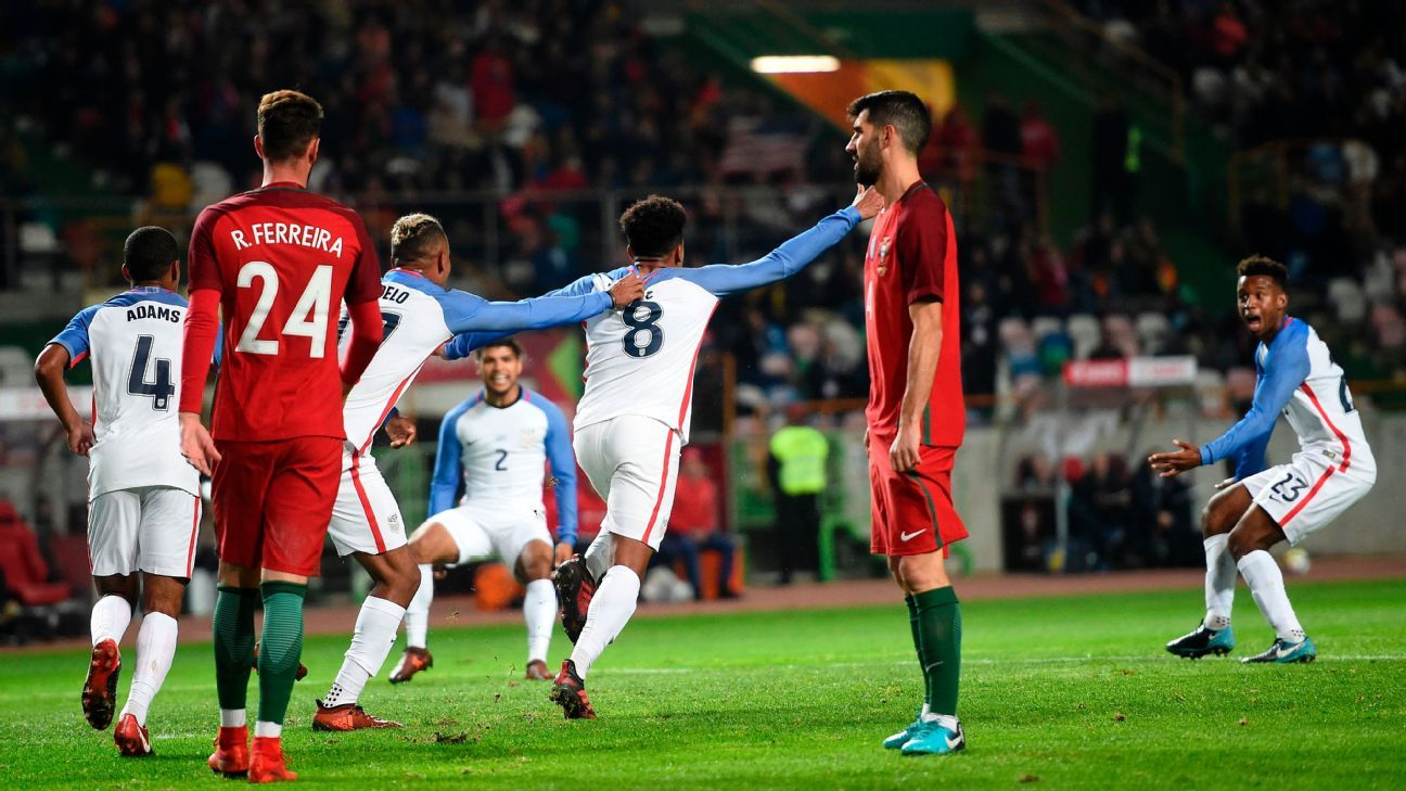 Weston McKinnie celebrates after opening the scoring for the U.S. in a friendly against Portugal.