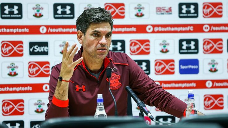 Mauricio Pellegrino during a news conference at Southampton's training ground.