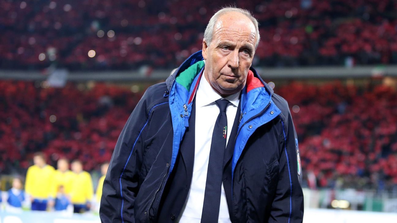 Gian Piero Ventura during Italy's World Cup playoff against Sweden.