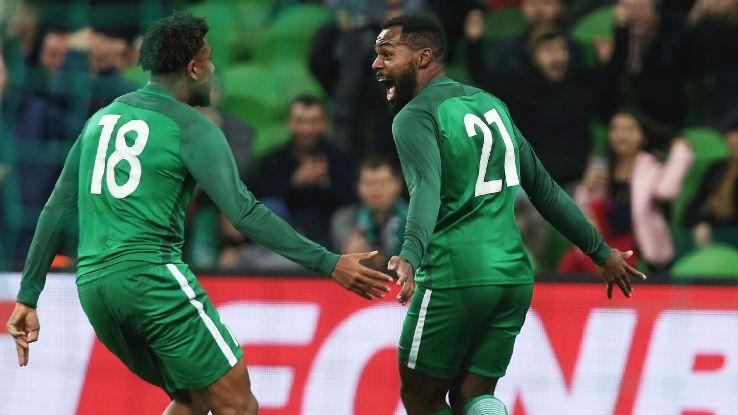 Bryan Iwodu making his debut for Nigeria.