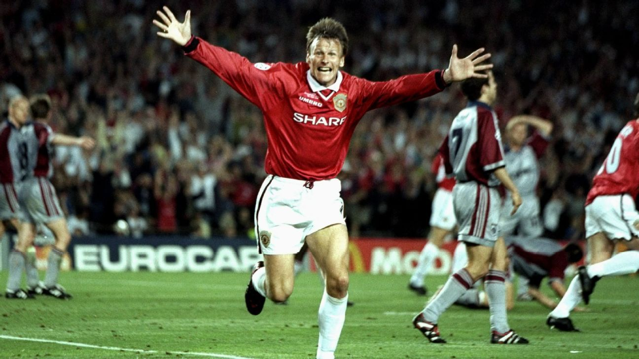 Sheringham famously scored and assisted in the space of two minutes to seal United's comeback win over Bayern Munich in the 1999 Champions League final.