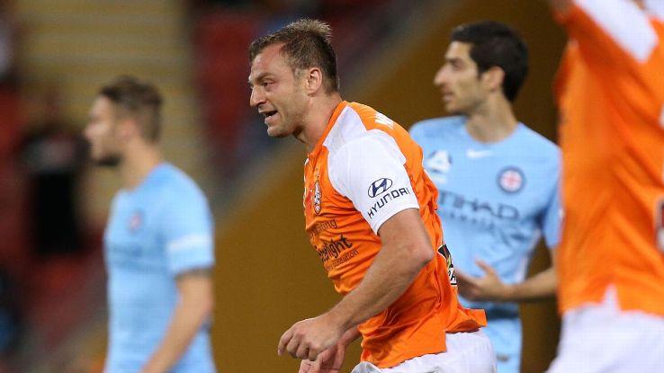 Avram Papadopoulos during Brisbane Roar's A-League win against Melbourne City.