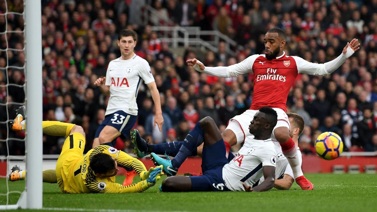 Arsenal's Alexandre Lacazette was denied by a superb defensive effort by Tottenham.