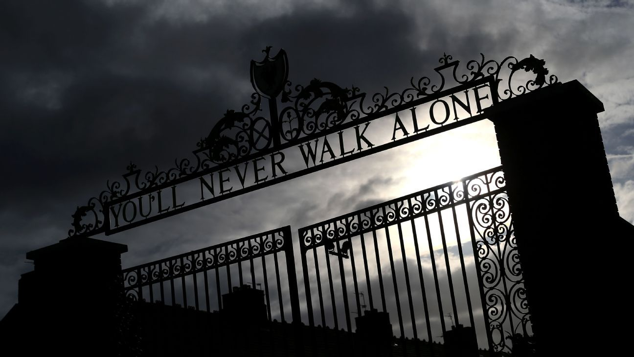 The Shankly Gates prior to Liverpool's clash with Southampton.