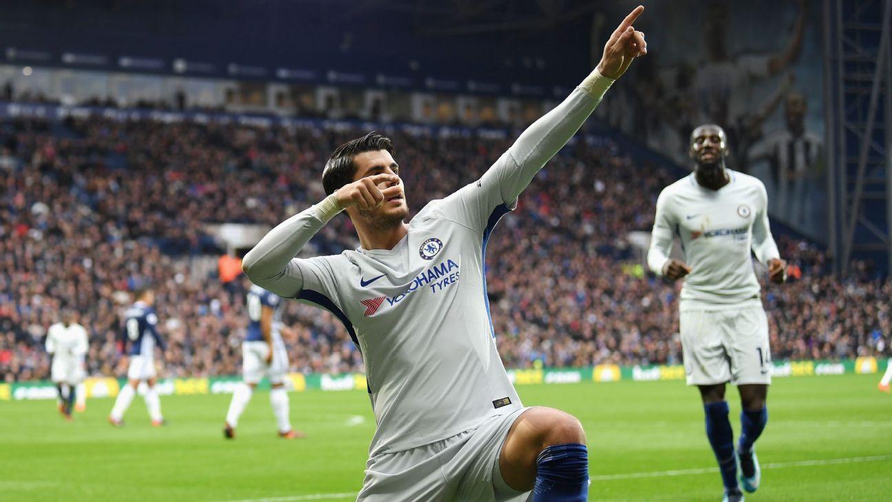 Alvaro Morata celebrates scoring opening goal against West Bromwich Albion