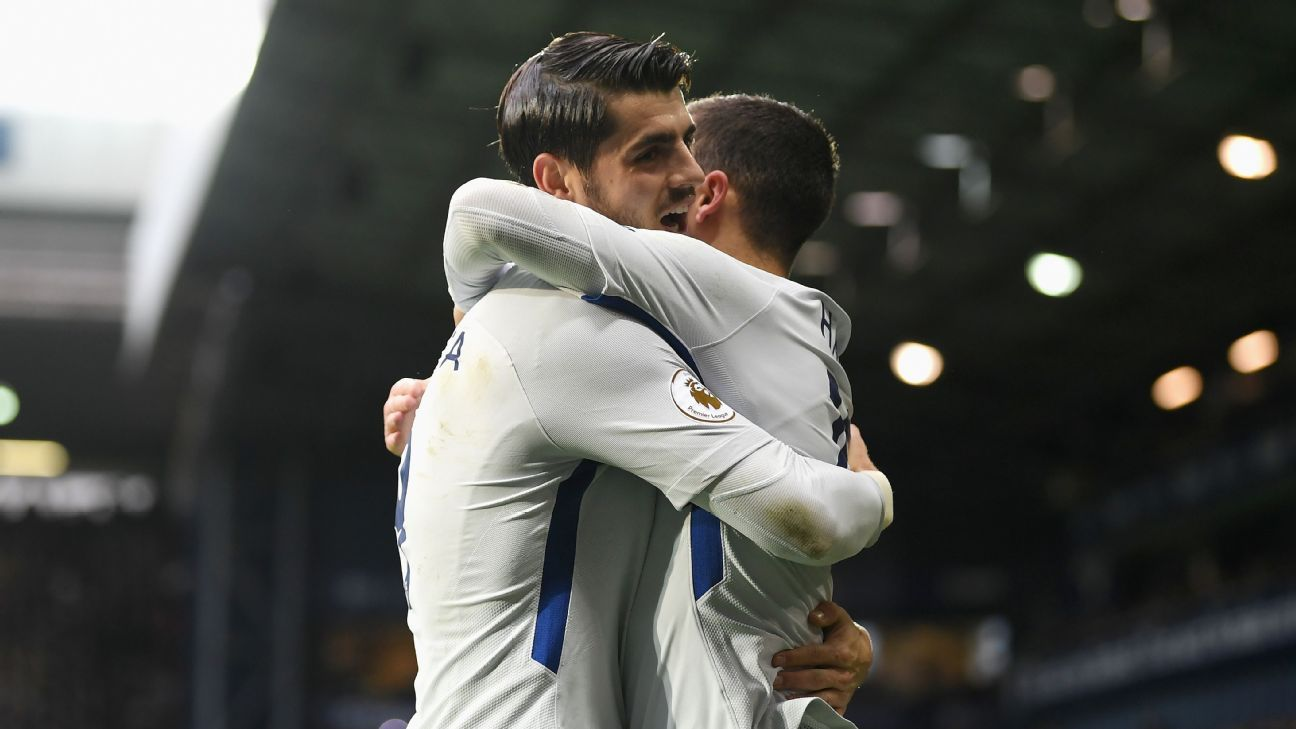 Eden Hazard celebrates with Alvaro Morata after scoring against West Bromwich Albion