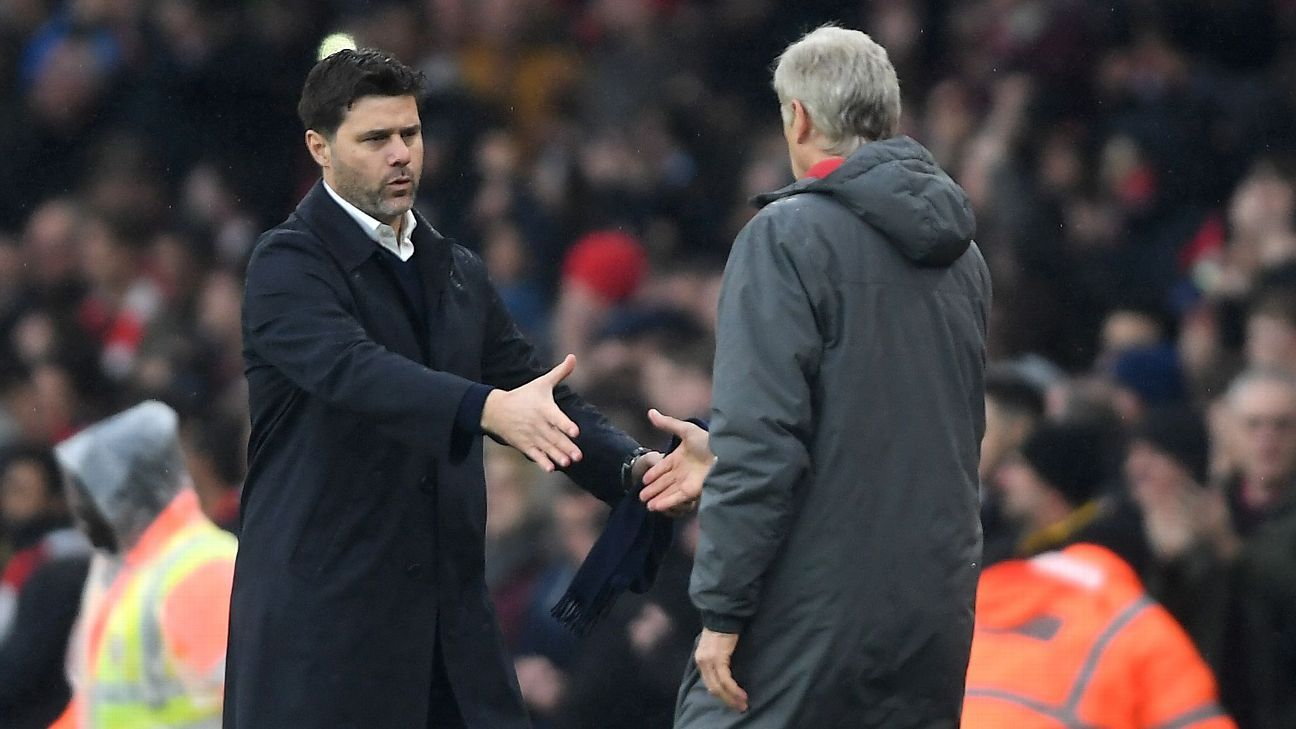 Mauricio Pochettino and Arsene Wenger during the Premier League game fixture between Arsenal and Tottenham.