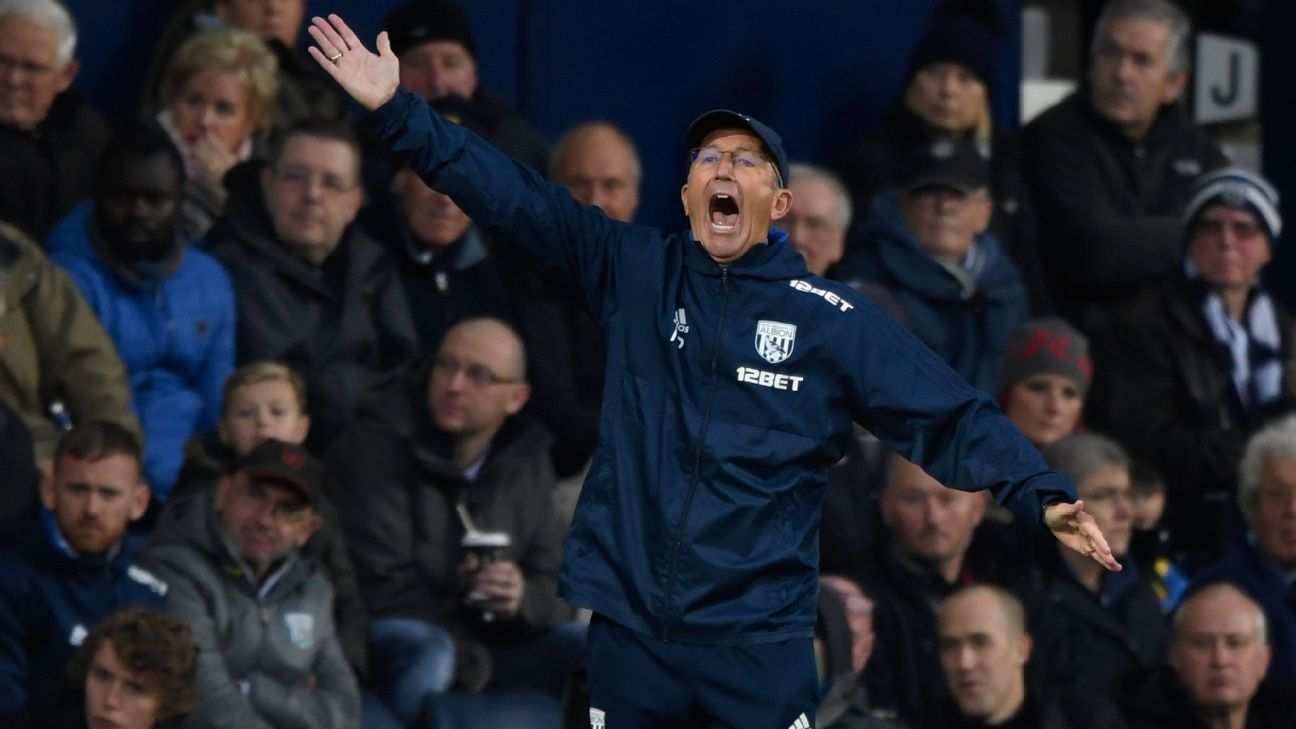 West Bromwich Albion manager Tony Pulis gestures during match against Chelsea