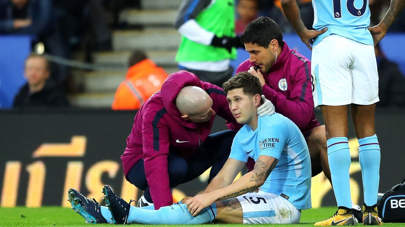 John Stones was injured in Manchester City's Premier League win against Leicester.