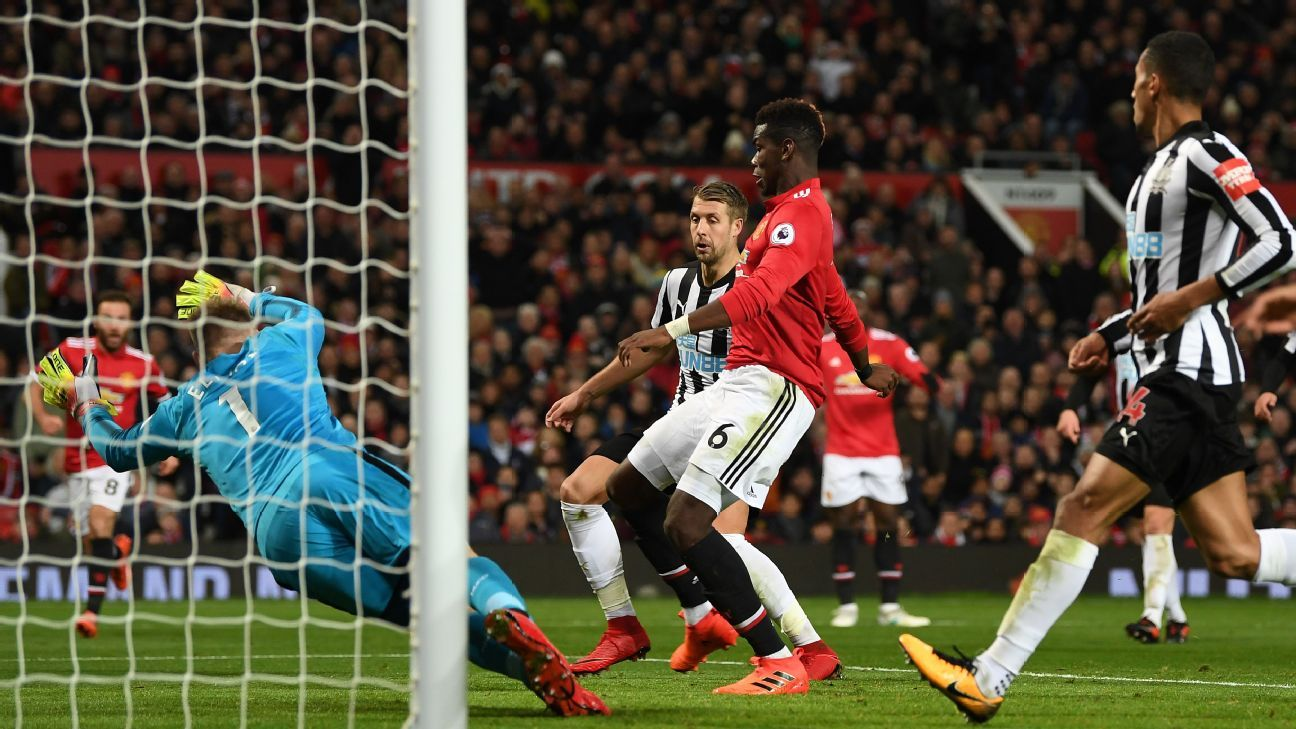 Paul Pogba scores for Manchester United against Newcastle.